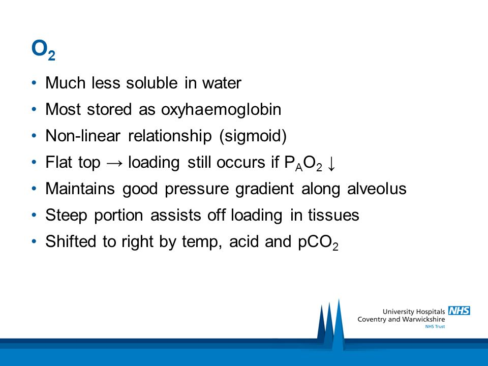 O2 Much less soluble in water Most stored as oxyhaemoglobin