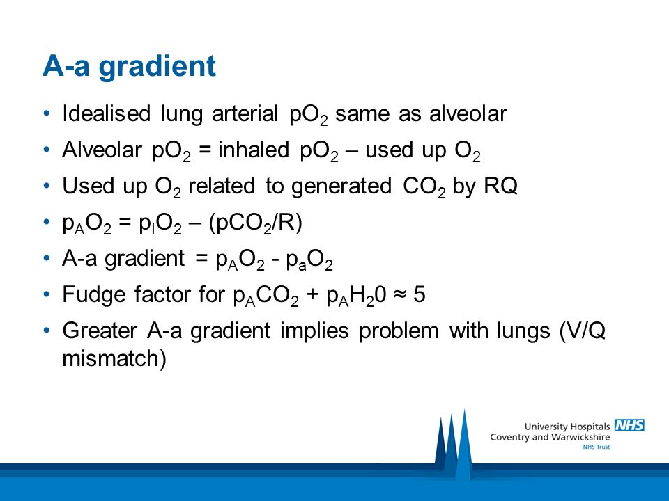 A-a gradient Idealised lung arterial pO2 same as alveolar