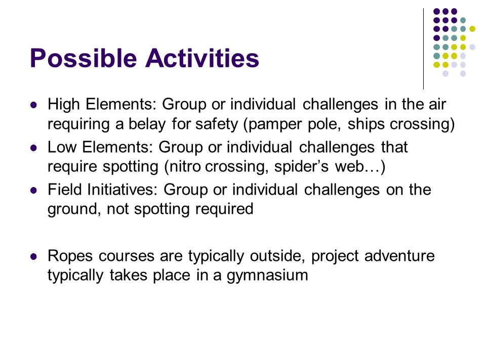 Possible Activities High Elements: Group or individual challenges in the air requiring a belay for safety (pamper pole, ships crossing)