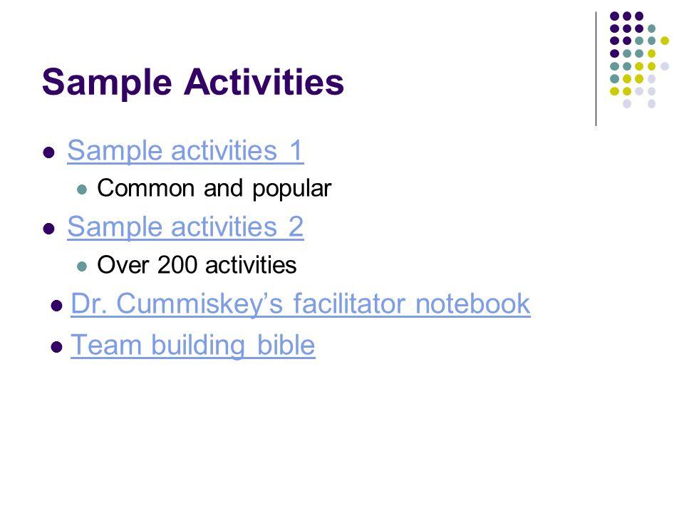 Sample Activities Sample activities 1 Sample activities 2