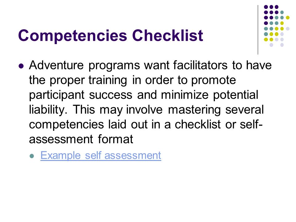 Competencies Checklist