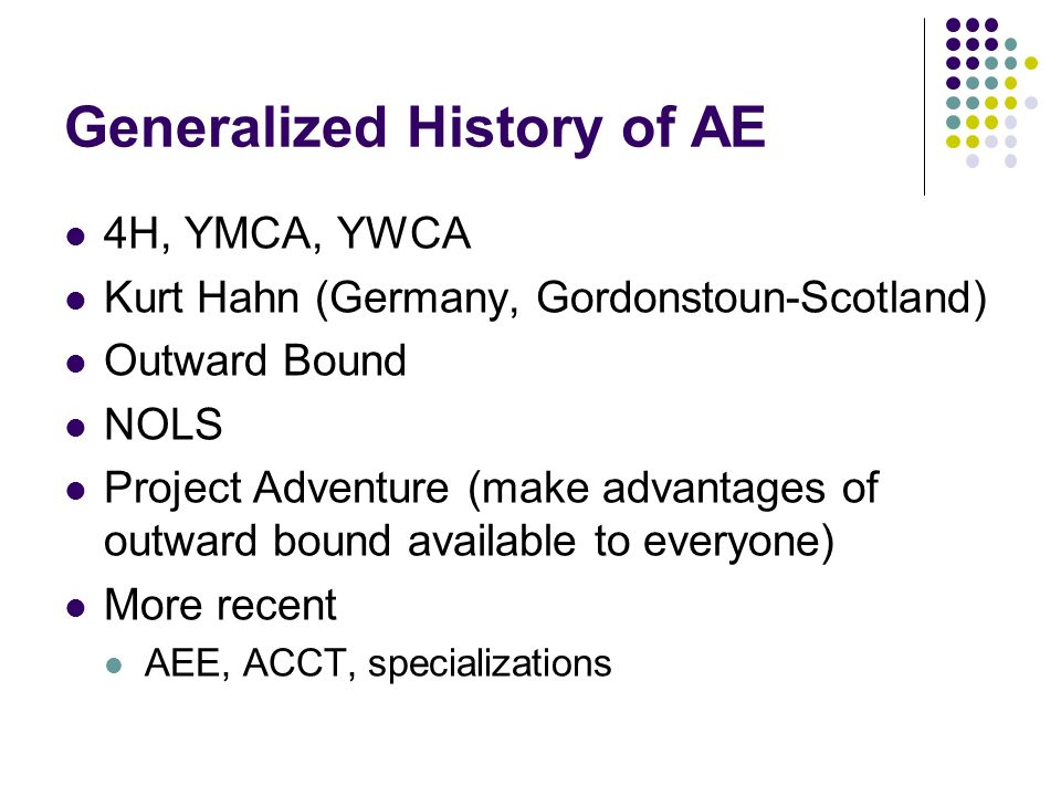 Generalized History of AE