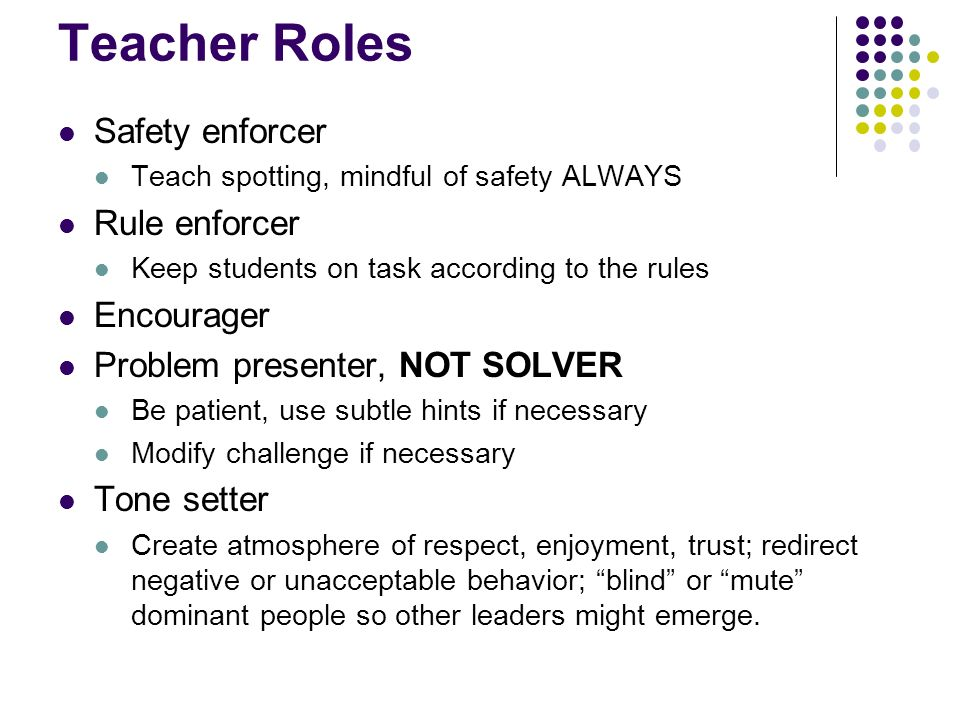 Teacher Roles Safety enforcer Rule enforcer Encourager