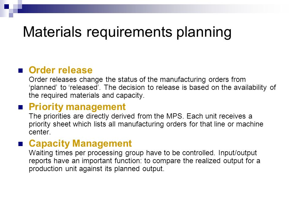 Materials requirements planning