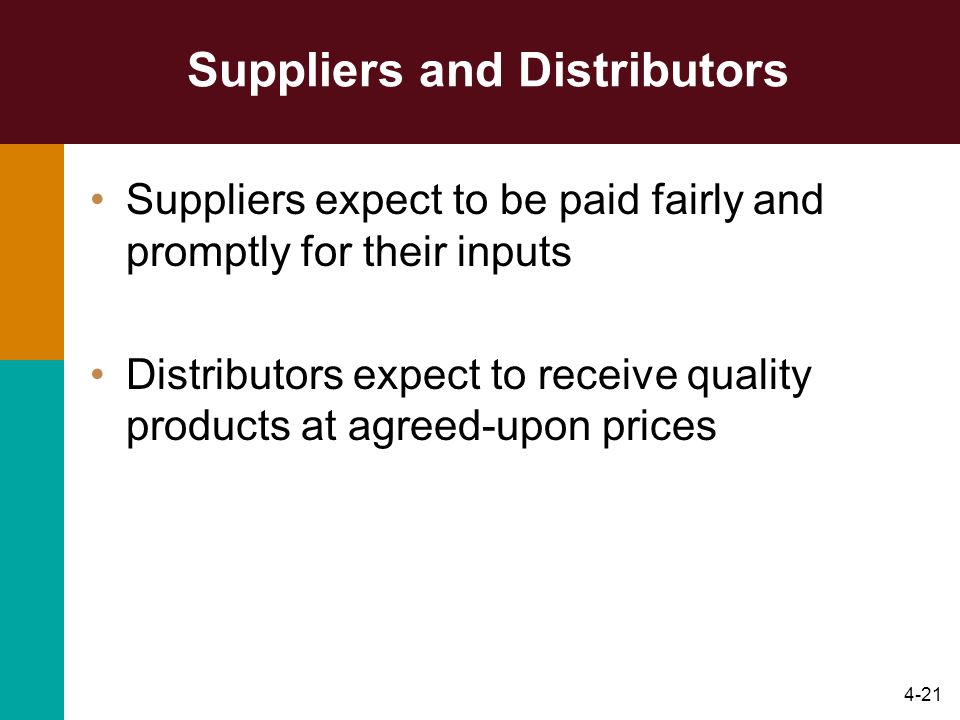 Suppliers and Distributors