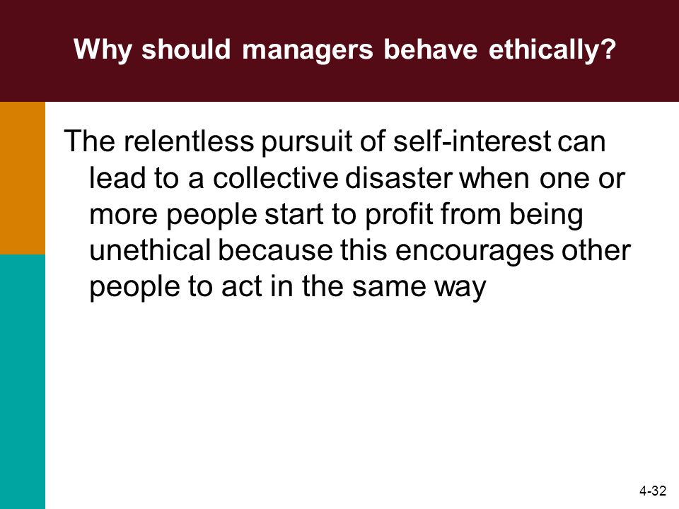Why should managers behave ethically
