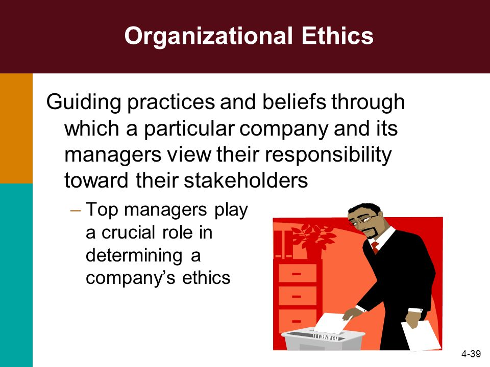 "ethics in organizations Ethics is about behavior in the face of dilemma, it is about doing the right thing ethical managerial leaders and their people take the ""right"" and ""good"" path when they come to the ethical choice points."