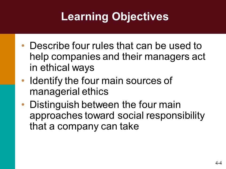 Learning Objectives Describe four rules that can be used to help companies and their managers act in ethical ways.