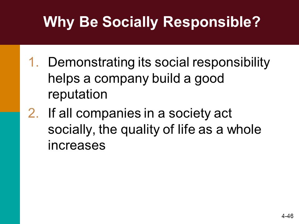 Why Be Socially Responsible