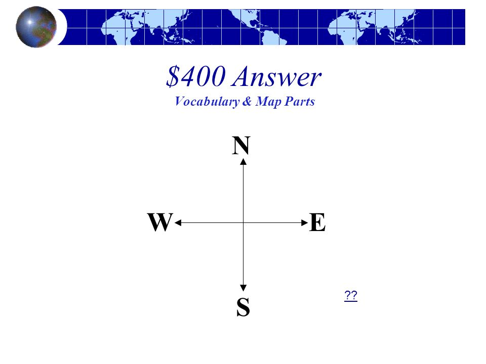 $400 Answer Vocabulary & Map Parts