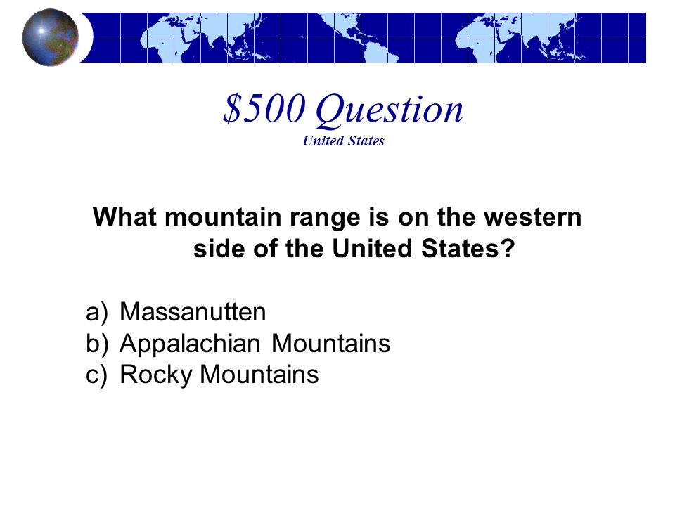 $500 Question United States