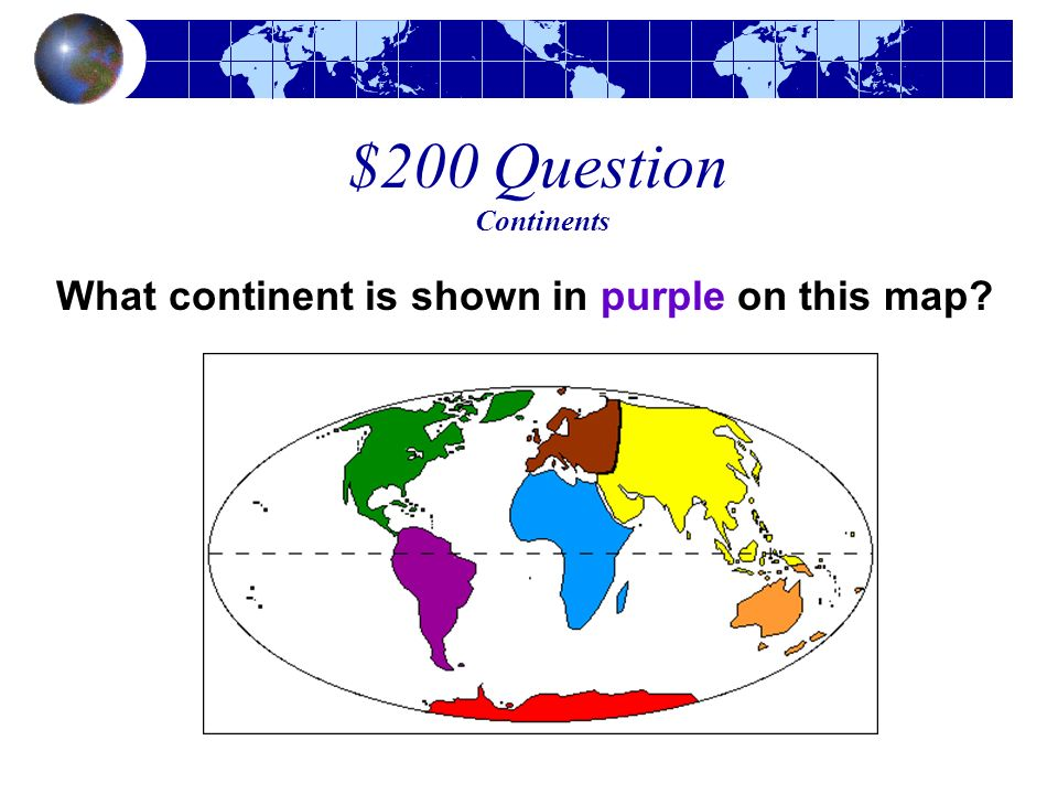 What continent is shown in purple on this map