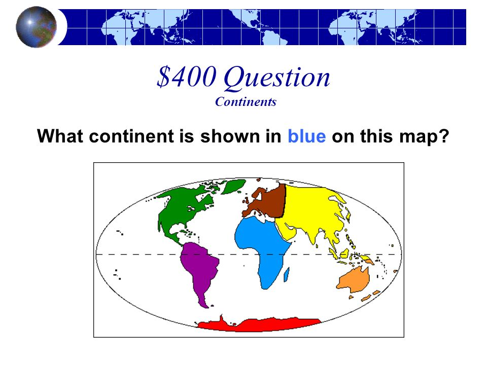 What continent is shown in blue on this map