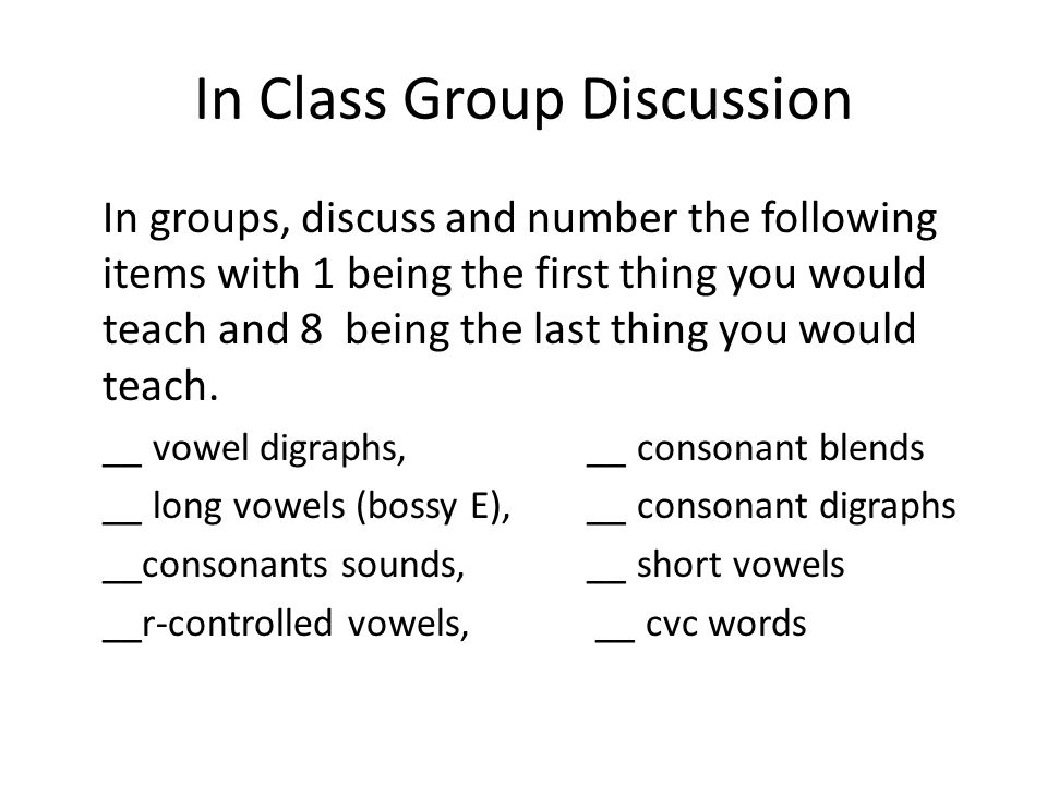 In Class Group Discussion