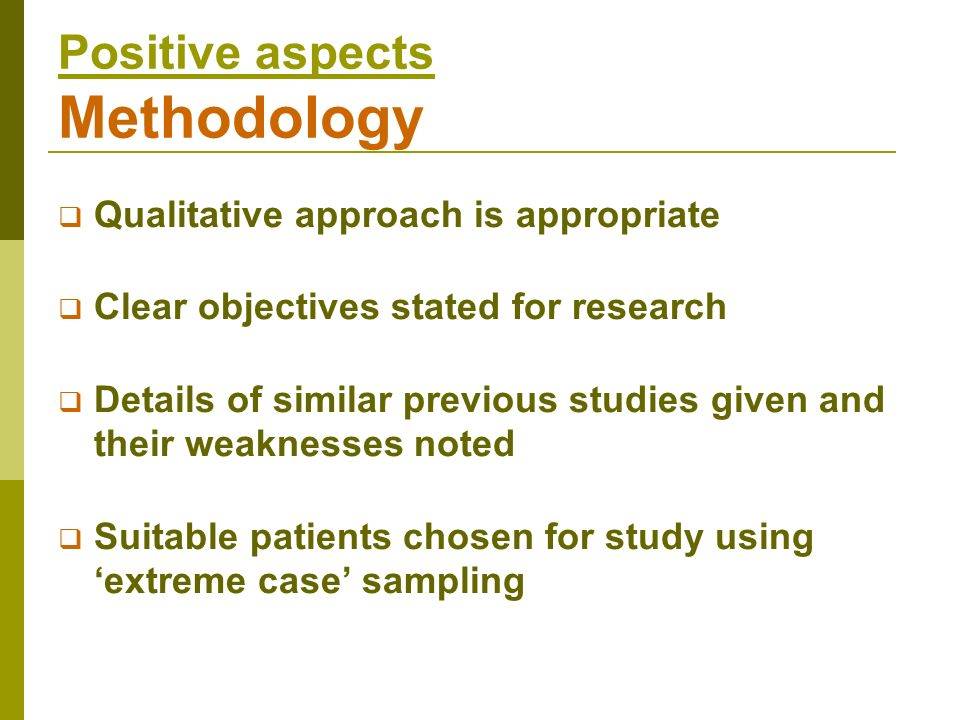 Positive aspects Methodology