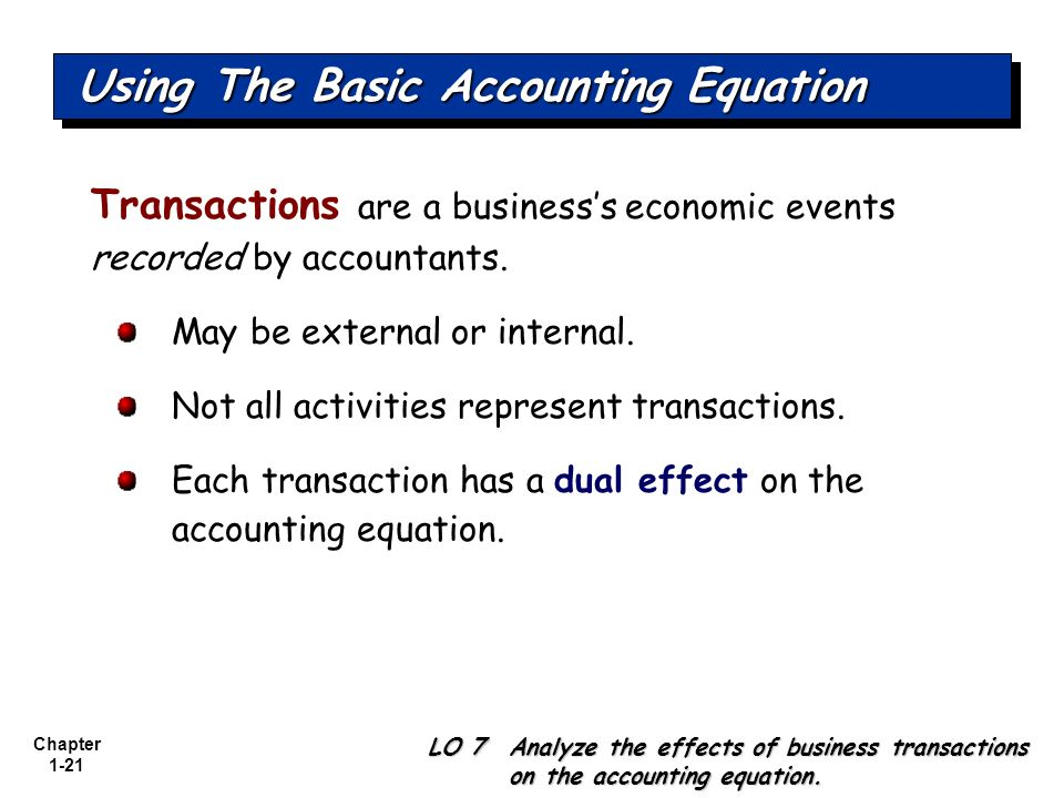 Using The Basic Accounting Equation