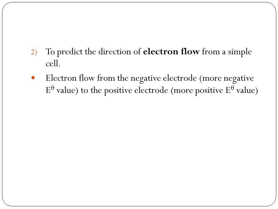 To predict the direction of electron flow from a simple cell.