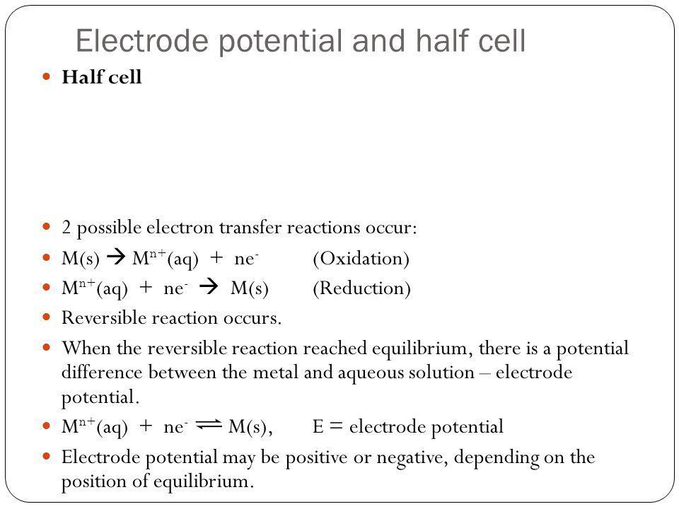 Electrode potential and half cell