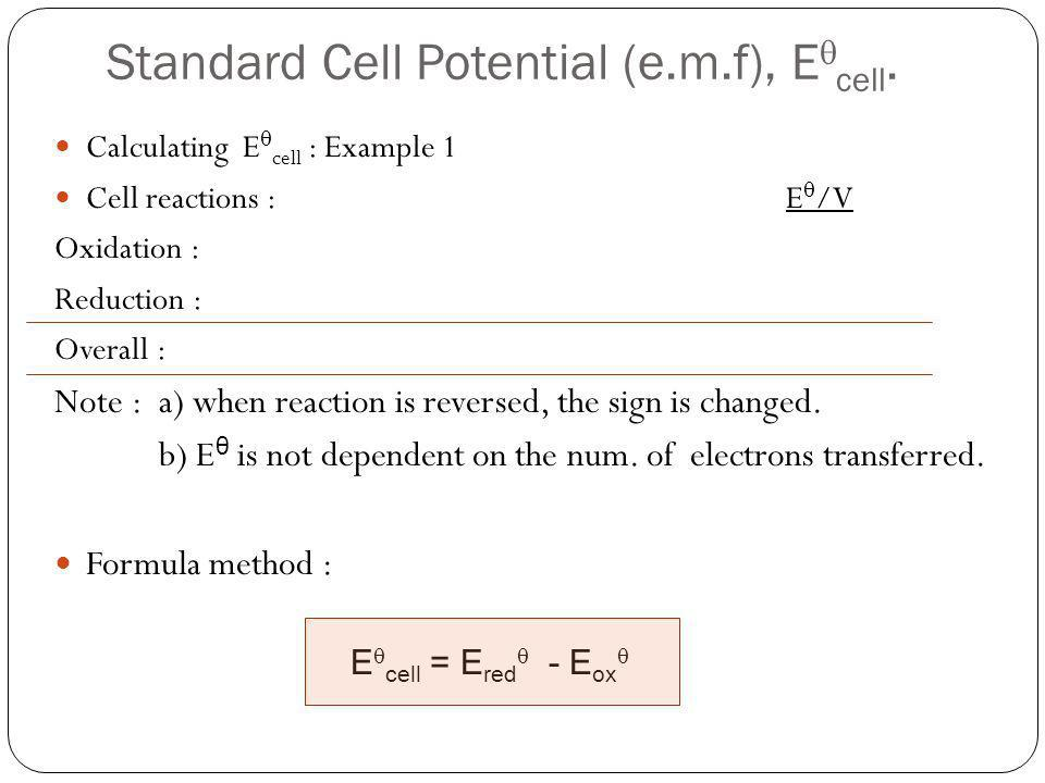 Standard Cell Potential (e.m.f), Ecell.