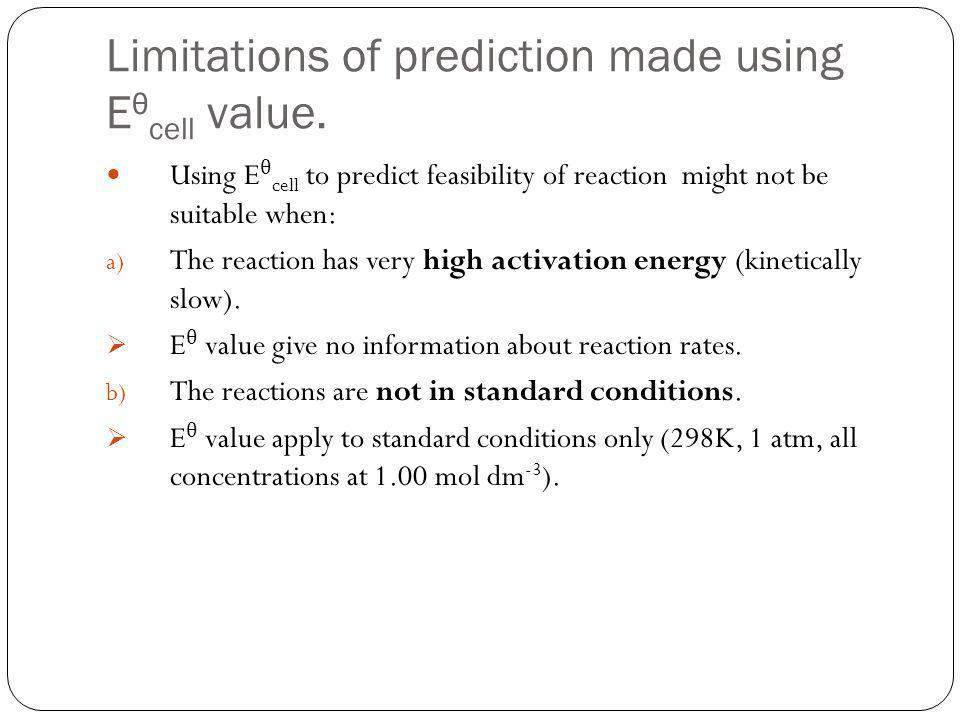 Limitations of prediction made using Eθcell value.