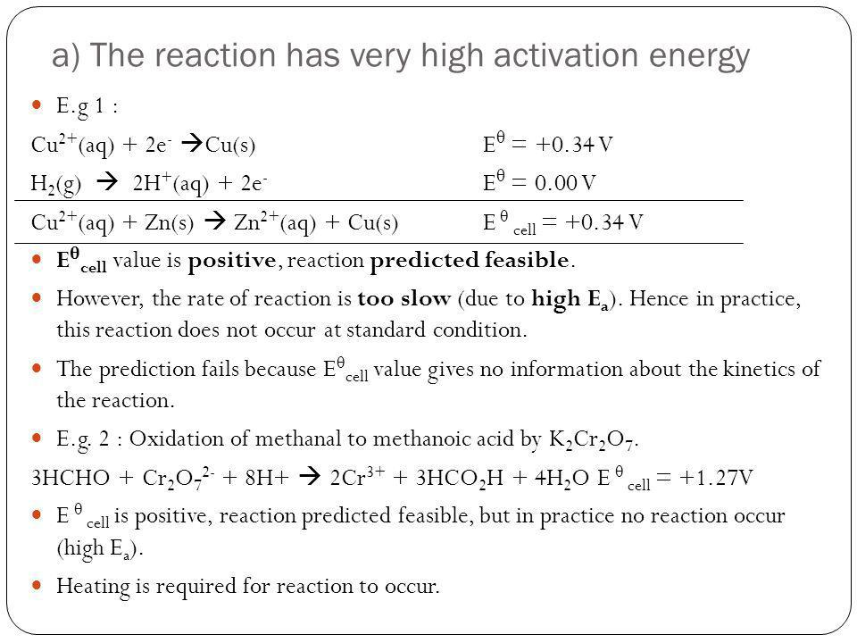 a) The reaction has very high activation energy