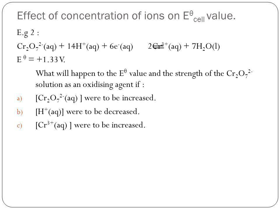 Effect of concentration of ions on Eθcell value.