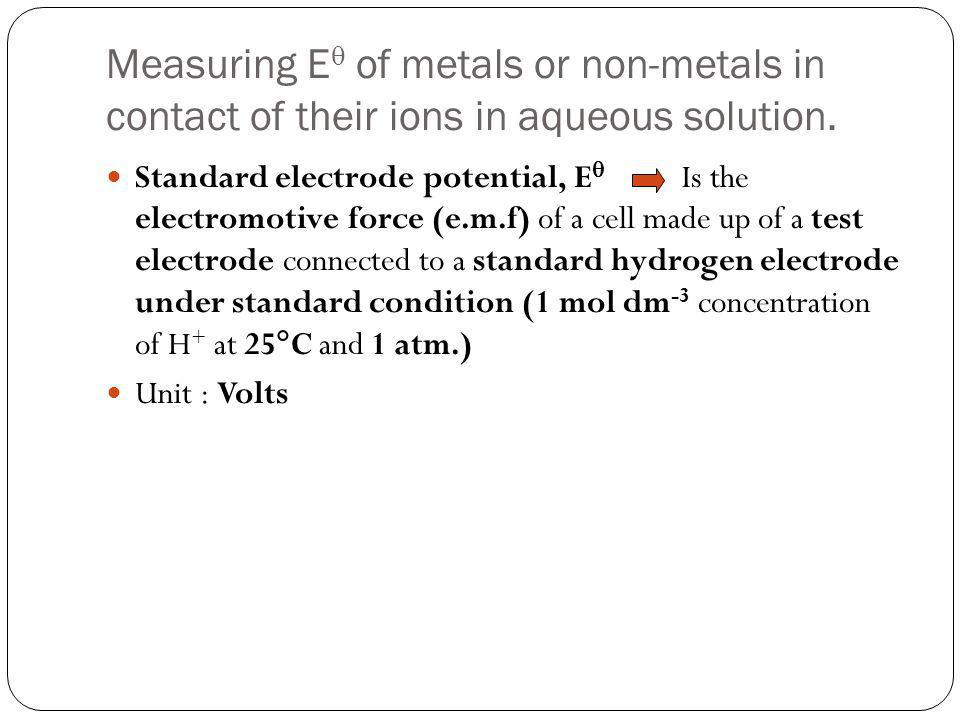 Measuring E of metals or non-metals in contact of their ions in aqueous solution.