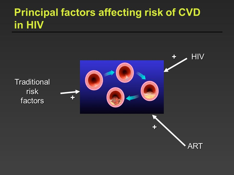 Principal factors affecting risk of CVD in HIV
