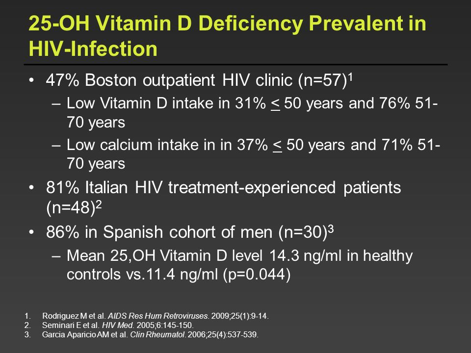 25-OH Vitamin D Deficiency Prevalent in HIV-Infection