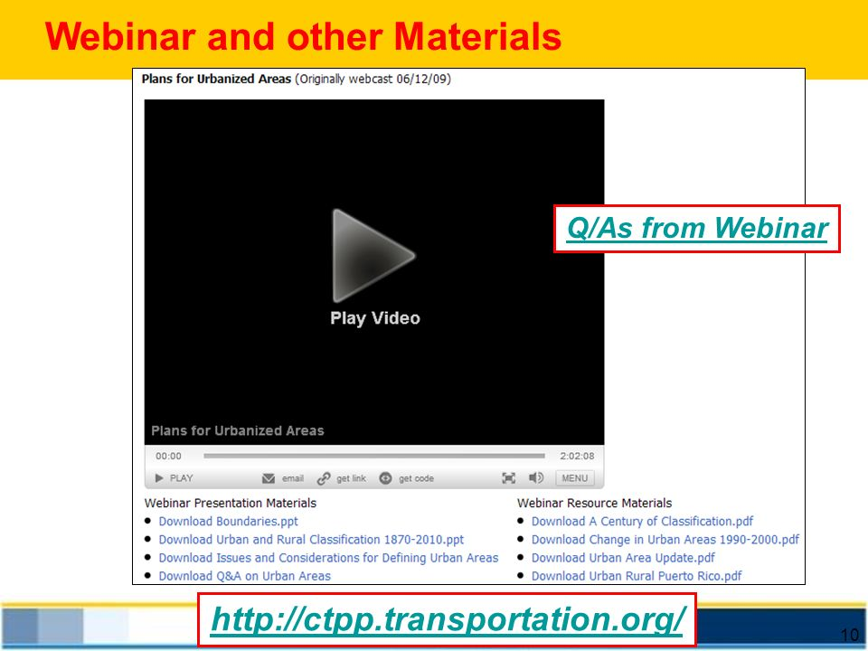 Webinar and other Materials