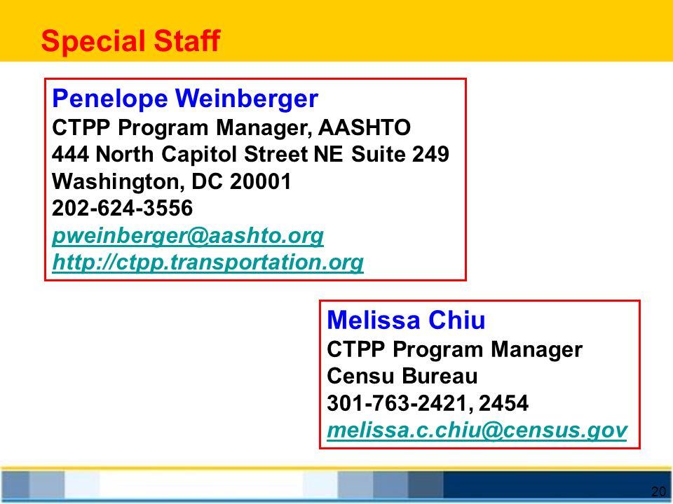 Special Staff Penelope Weinberger Melissa Chiu