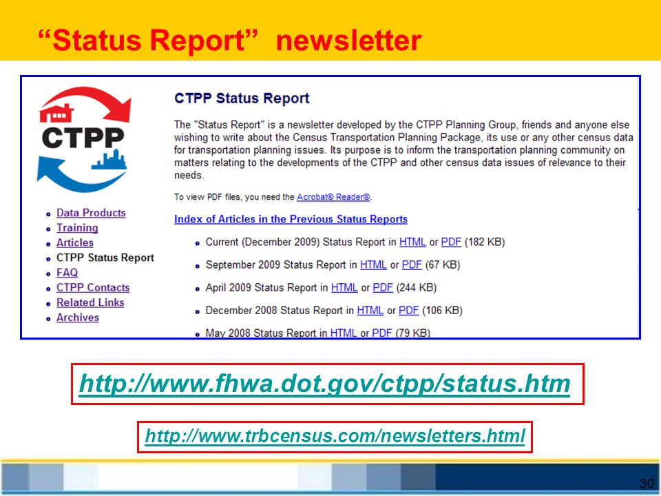 Status Report newsletter