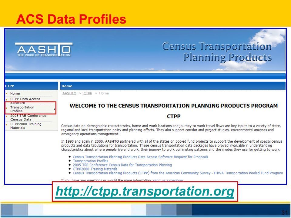 ACS Data Profiles http://ctpp.transportation.org