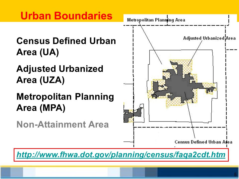 Urban Boundaries Census Defined Urban Area (UA)