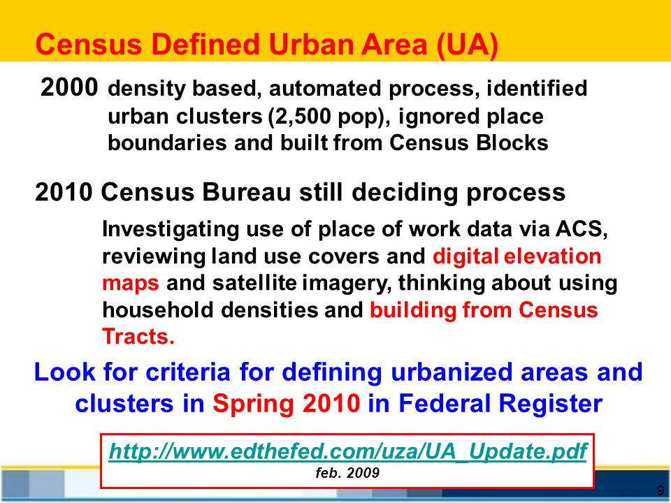 Census Defined Urban Area (UA)