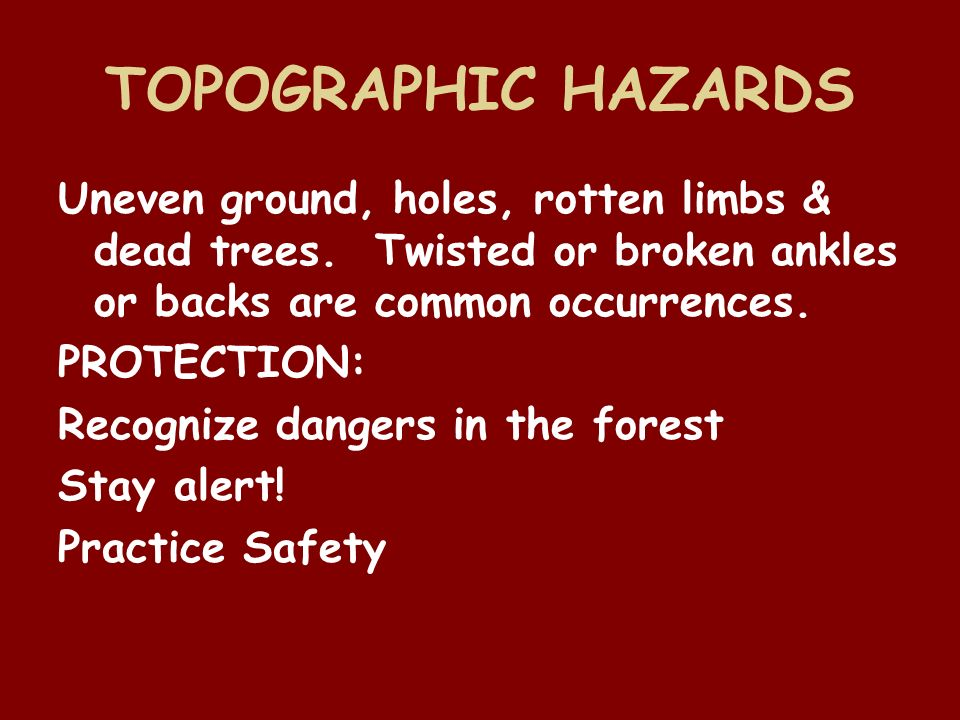 TOPOGRAPHIC HAZARDS Uneven ground, holes, rotten limbs & dead trees. Twisted or broken ankles or backs are common occurrences.