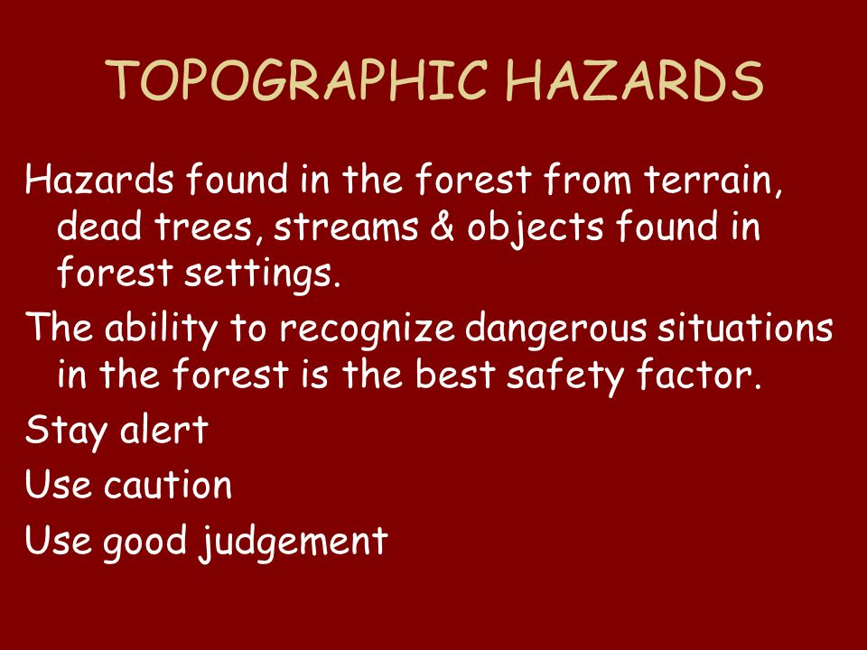 TOPOGRAPHIC HAZARDS Hazards found in the forest from terrain, dead trees, streams & objects found in forest settings.