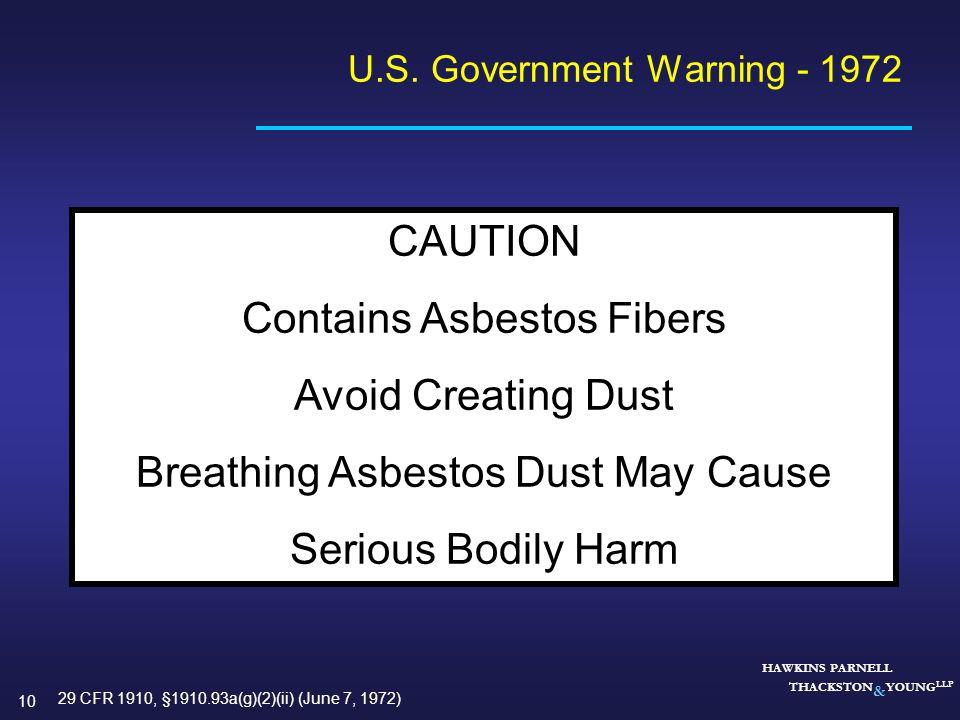 U.S. Government Warning - 1972