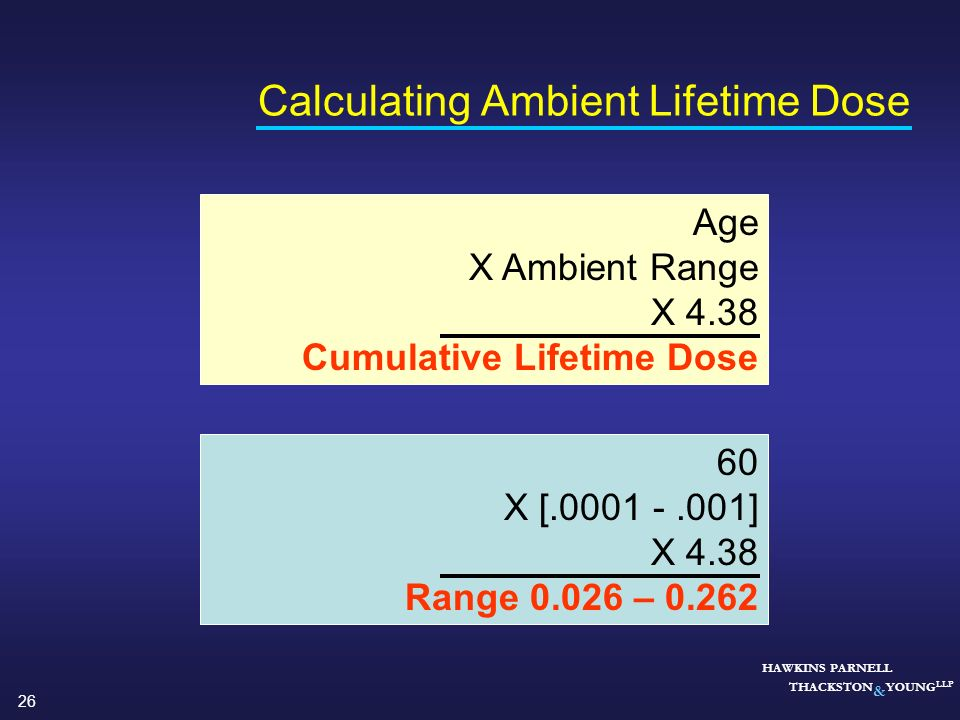 Calculating Ambient Lifetime Dose