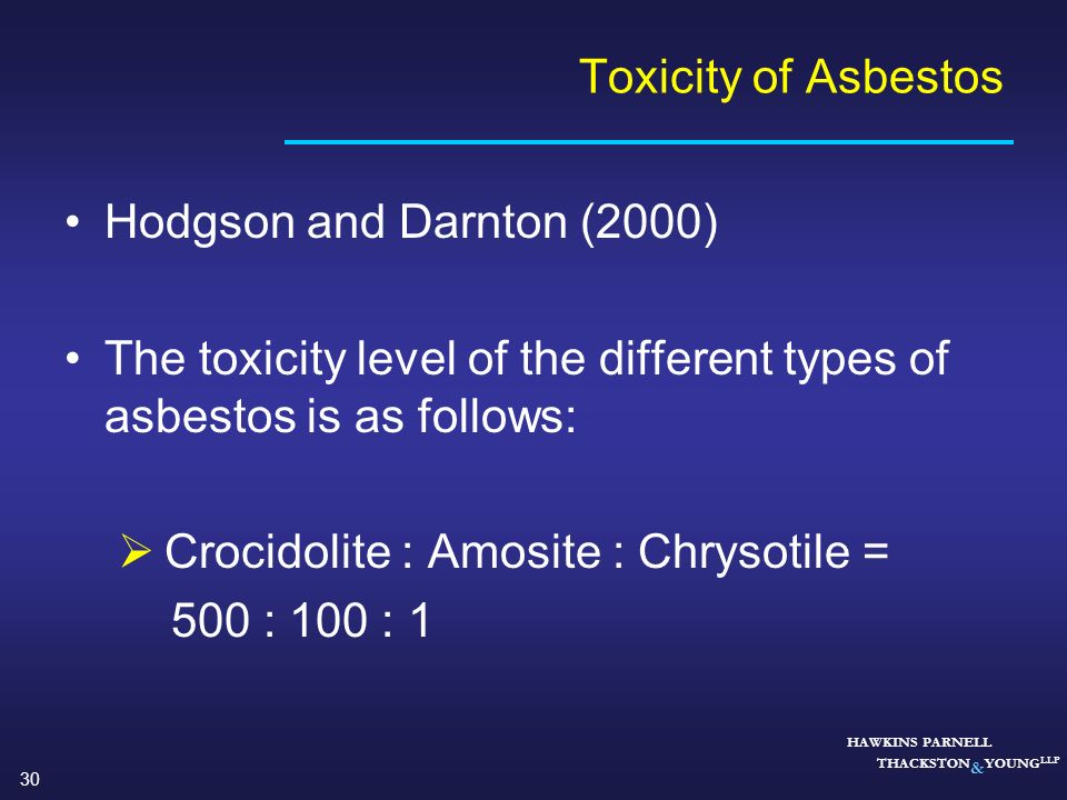 The toxicity level of the different types of asbestos is as follows: