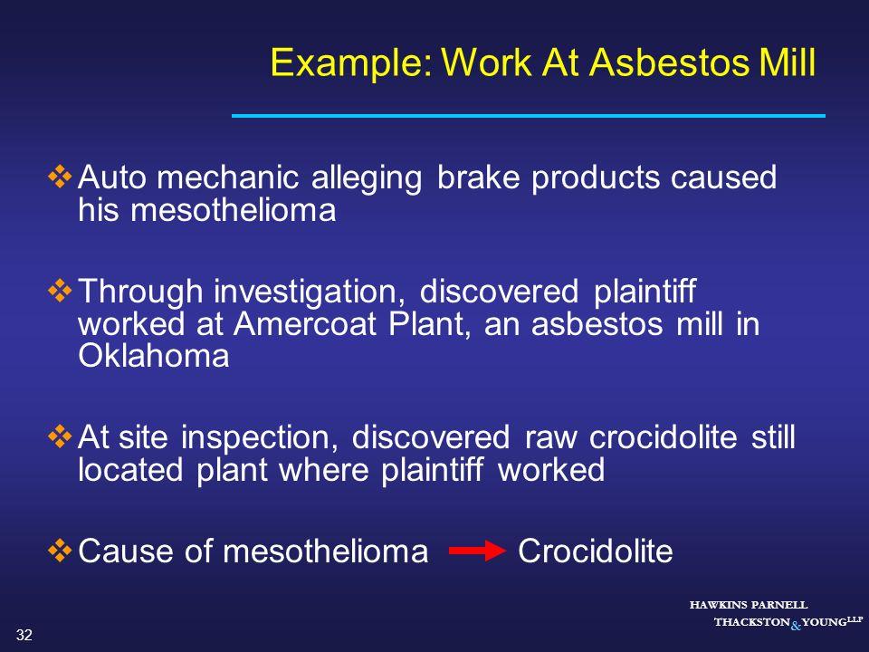 Example: Work At Asbestos Mill