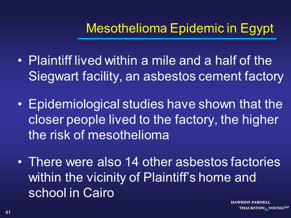 Mesothelioma Epidemic in Egypt