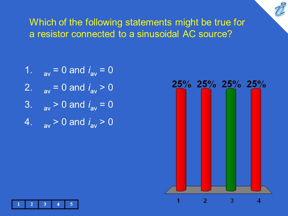 Which of the following statements might be true for a resistor connected to a sinusoidal AC source