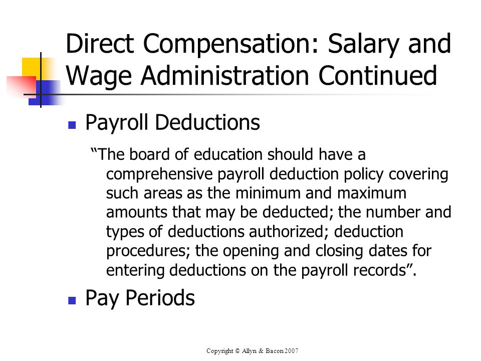 Direct Compensation: Salary and Wage Administration Continued