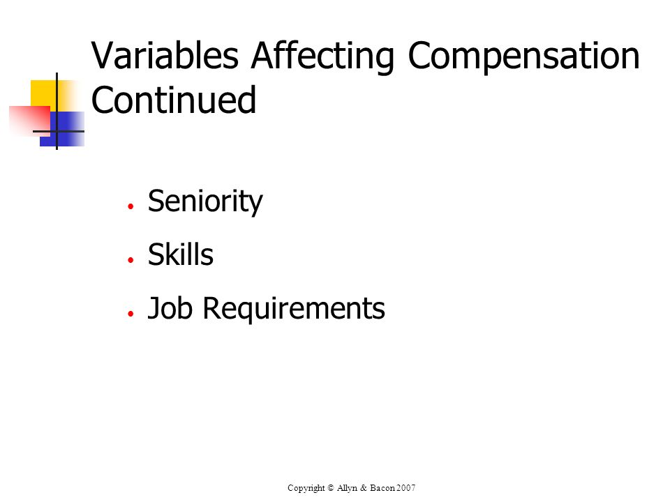 Variables Affecting Compensation Continued