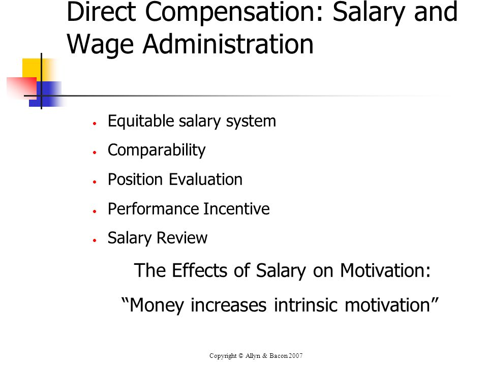 Direct Compensation: Salary and Wage Administration