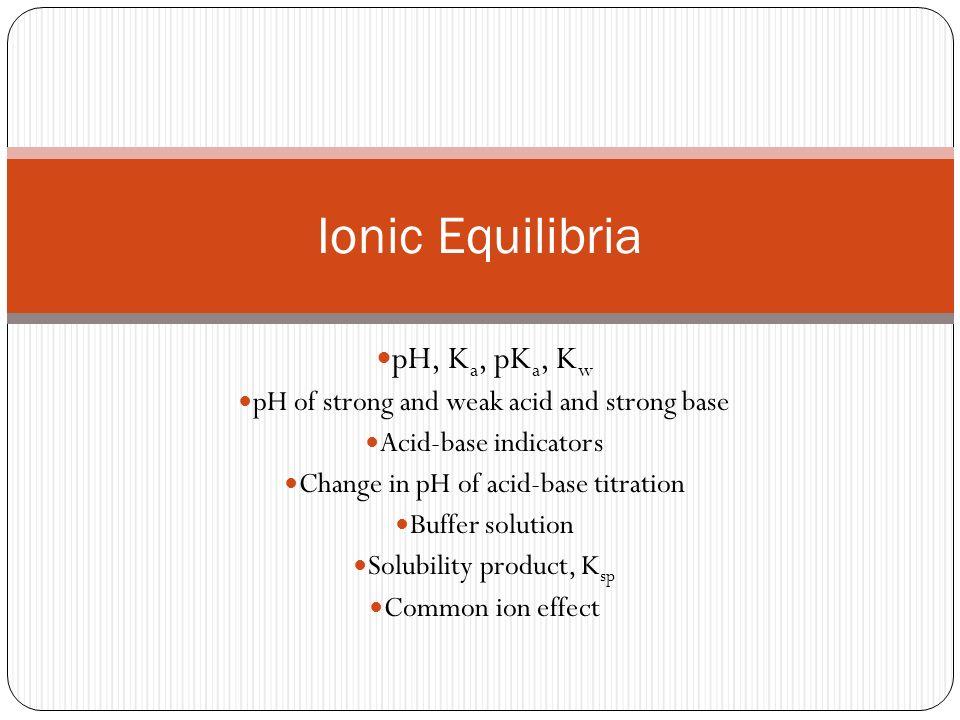 Ionic Equilibria pH, Ka, pKa, Kw