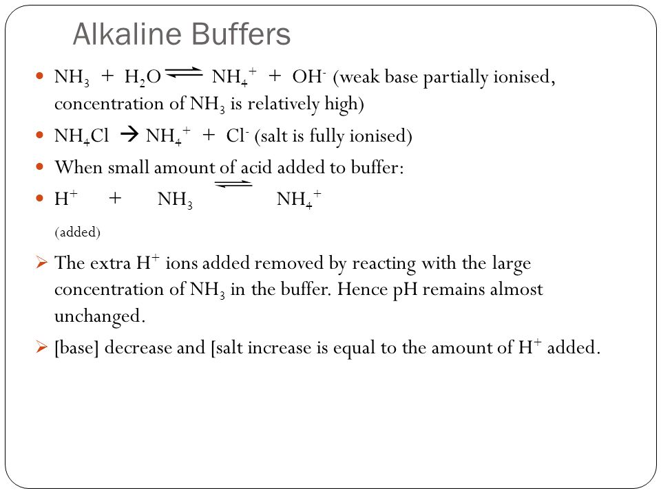 Alkaline Buffers NH3 + H2O NH4+ + OH- (weak base partially ionised, concentration of NH3 is relatively high)