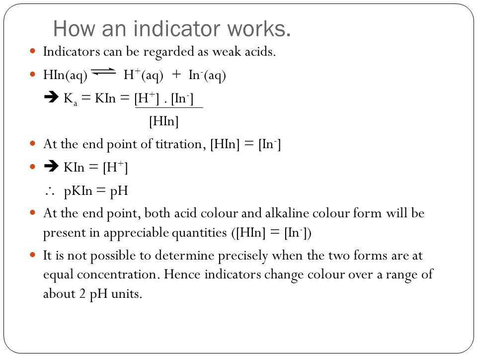 How an indicator works. Indicators can be regarded as weak acids.