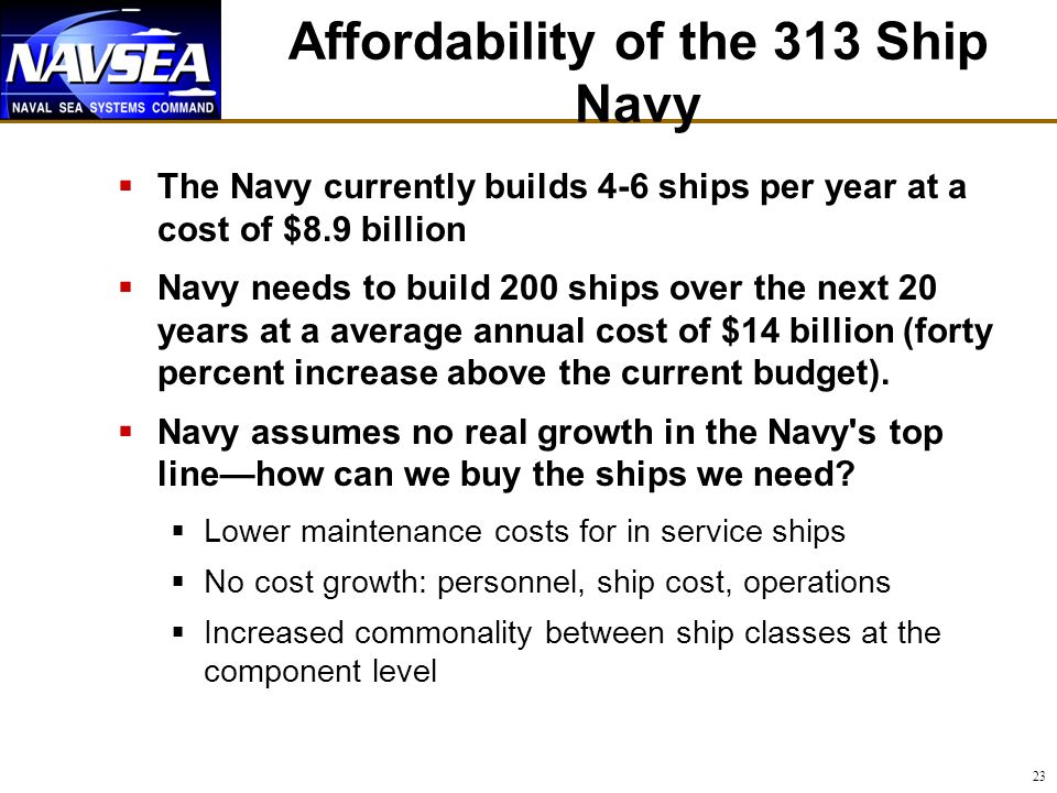 Affordability of the 313 Ship Navy